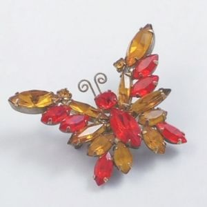 Amber Orange Gold Rhinestone Glass Butterf…